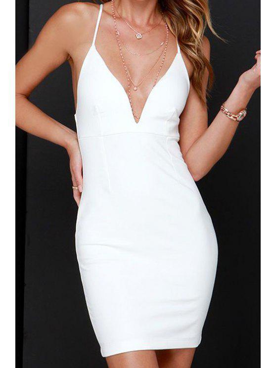 chic White Spaghetti Strap Deep V Neck Dress - WHITE S
