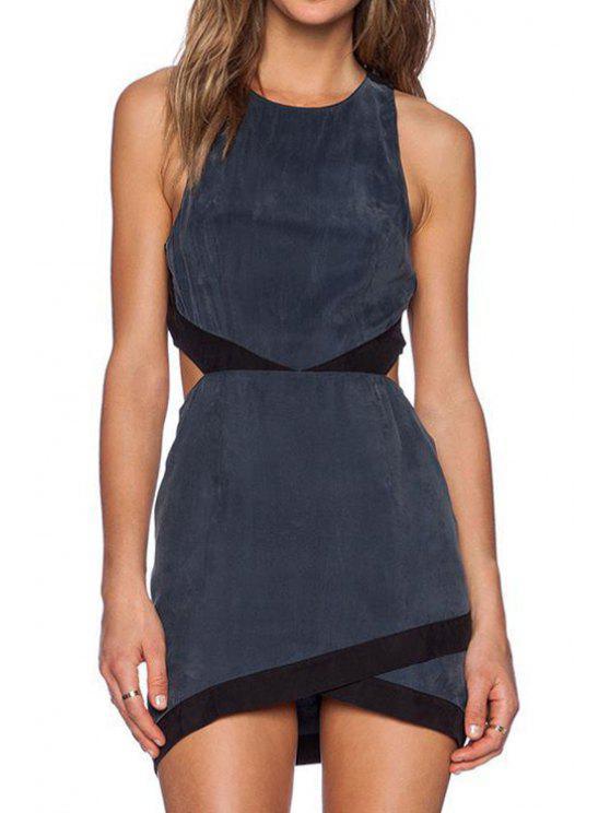 fancy Backless Cross Color Block Sleeveless Dress - BLACK M