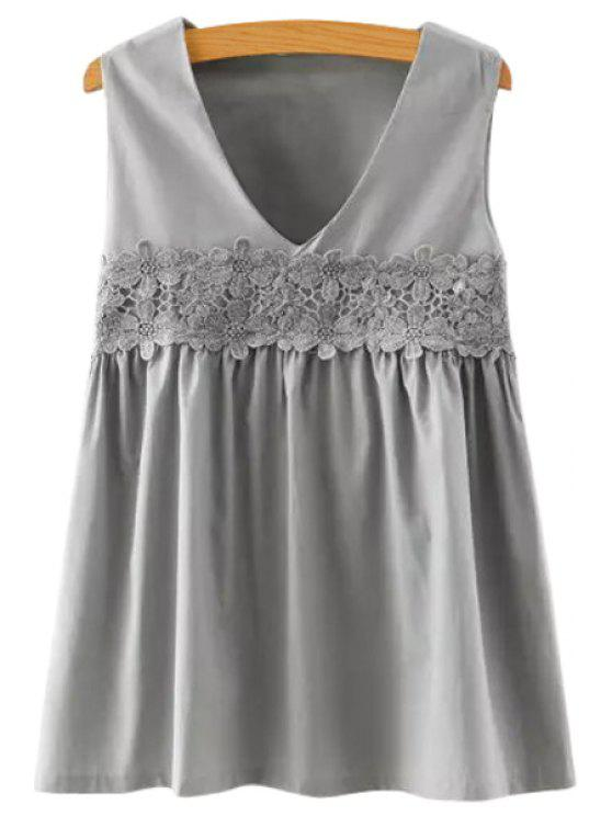 latest Sleeveless Solid Color Lace Splicing Blouse - GRAY M