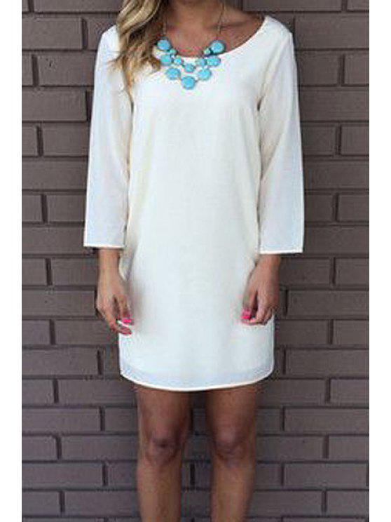 affordable White Open Back Long Sleeve Dress - WHITE M