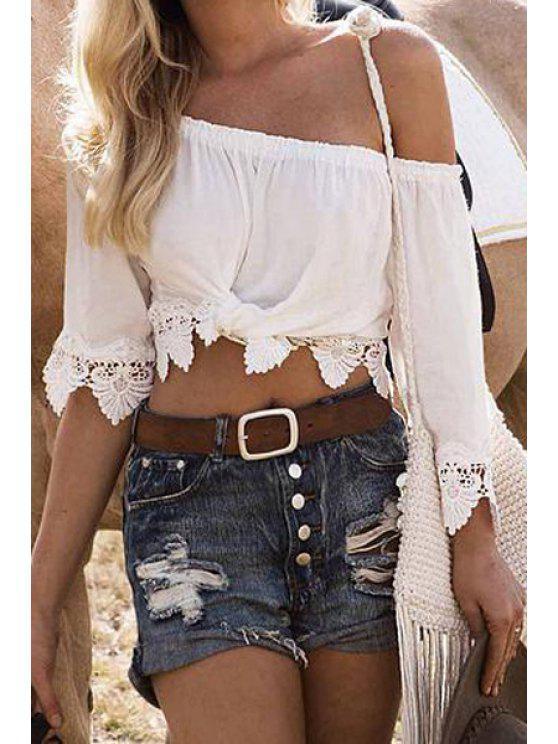 trendy White Lace Slash Neck 3/4 Sleeve Blouse - WHITE S