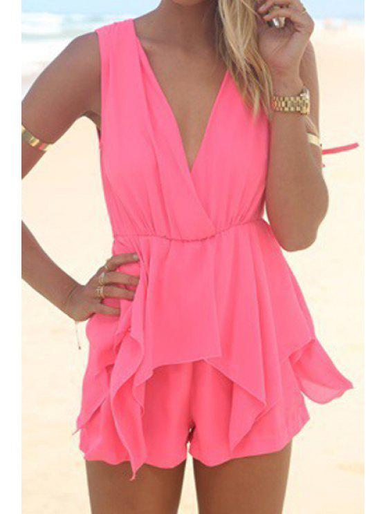 lady Backless Tie-Up Flounce Splicing Romper - ROSE S