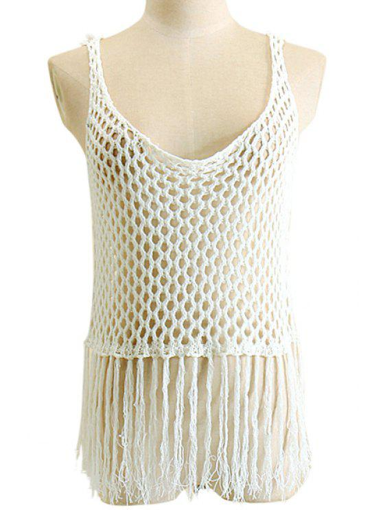 shop Openwork Fringe Crochet Tank Top - WHITE XL