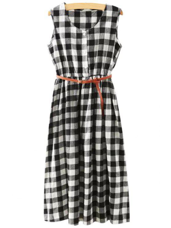 shop Sleeveless Large Plaid Midi Dress With Belt - WHITE AND BLACK S