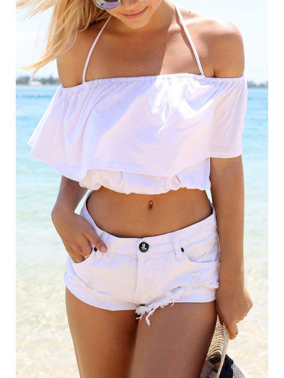 lady White Ruffles Slash Neck Crop Top - WHITE S
