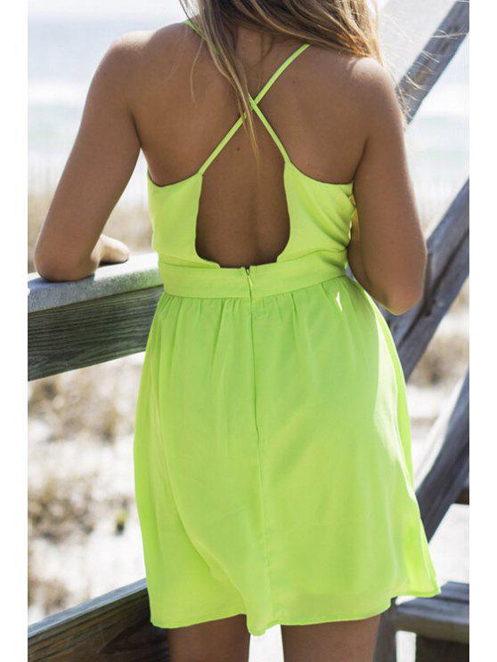 fashion Green Spaghetti Straps Backless Dress - GREEN S