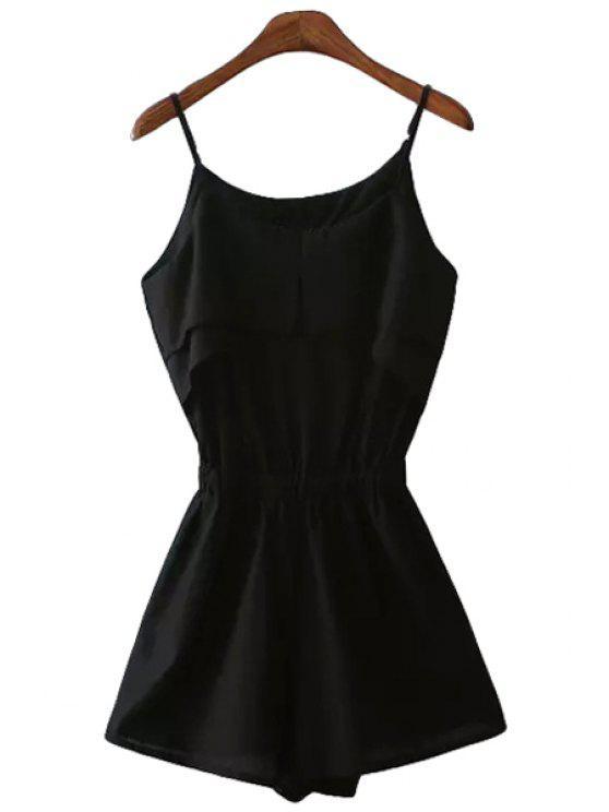 outfits Solid Color Ruffles Spaghetti Strap Romper - BLACK S
