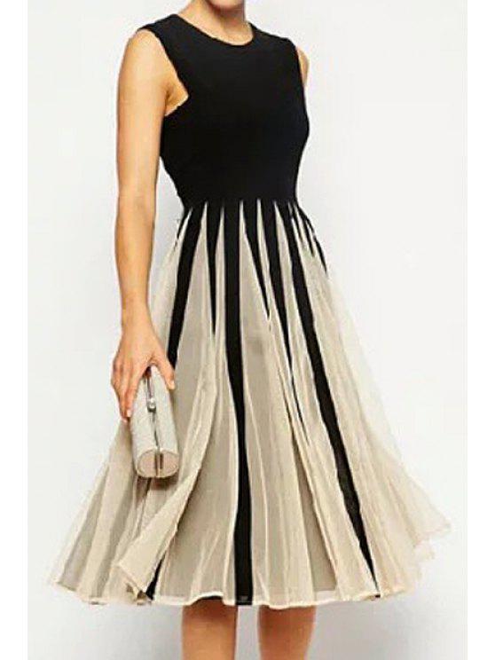 women's Voile Spliced A Line Midi Sundress - BLACK S