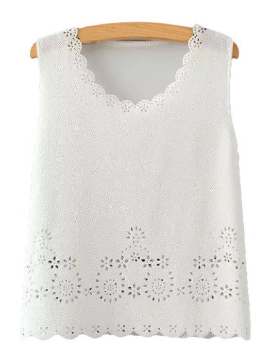 unique Scoop Neck Hollow Out Tank Top - WHITE S
