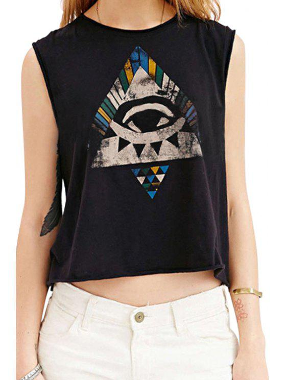 ladies Round Neck Abstract Print Loose-Fitting Tank Top - BLACK XS