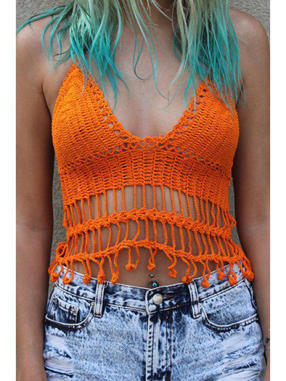 24 Off 2019 Solid Color Crochet Halter Crop Top In Orange Zaful