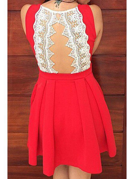 latest Round Neck A-Line Ruffled Lace Spliced Dress - RED S