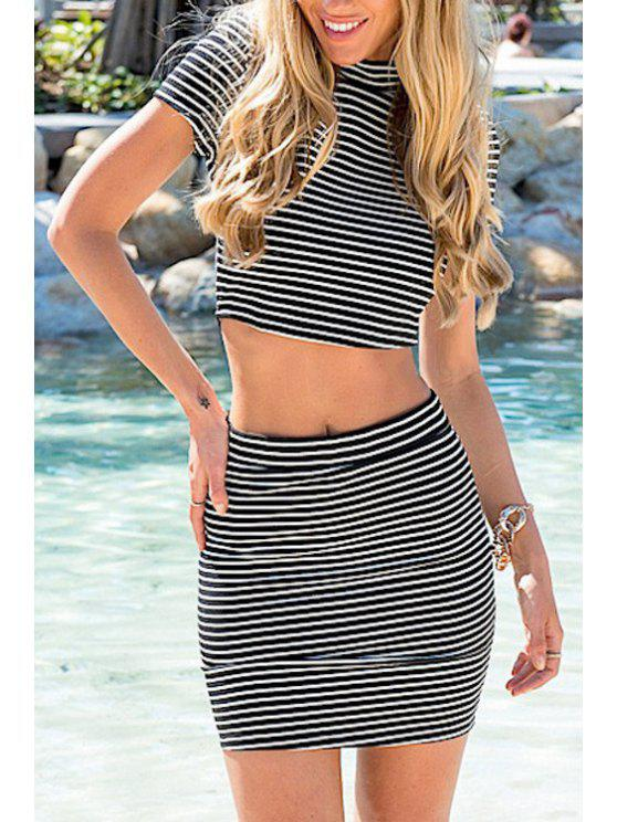 best Stand-Up Collar Stripe Back Zipper Splicing Dress - GRAY L