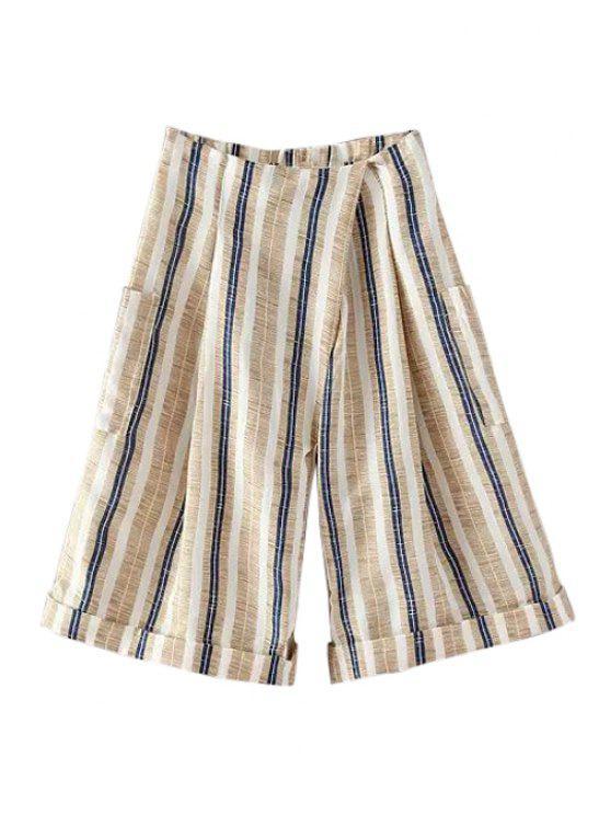 chic Striped Wide Leg Large Pockets Capri Pants - KHAKI ONE SIZE(FIT SIZE XS TO M)