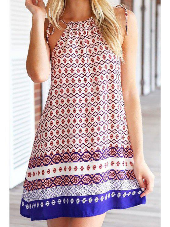 outfit Spaghetti Strap Tie-Up Argyle Print Dress - COLORMIX ONE SIZE(FIT SIZE XS TO M)