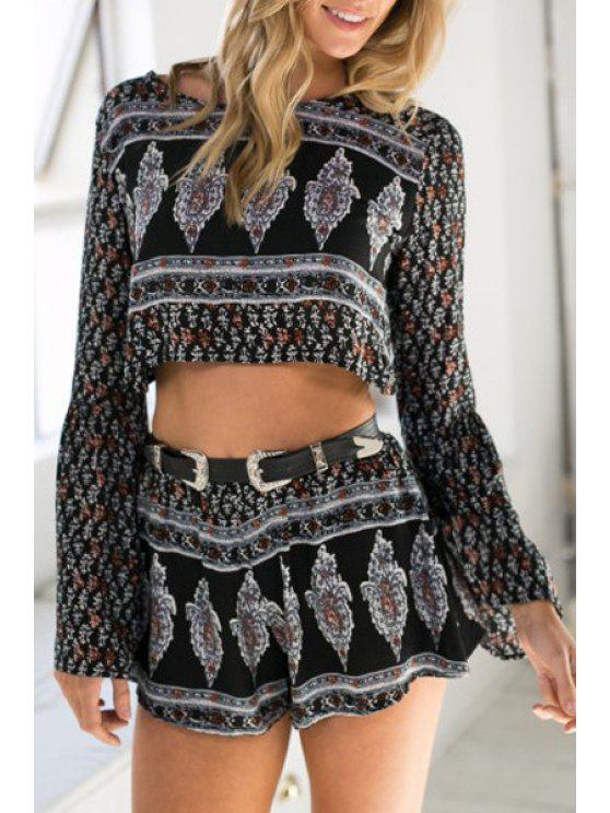 latest Argyle Print Backless Crop Top + Shorts - COLORMIX S