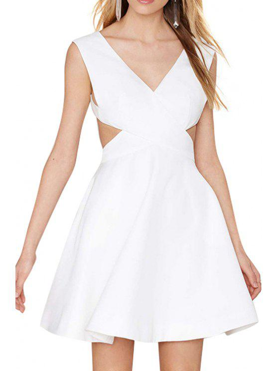 affordable Backless Pocket Solid Color Sleeveless Dress - WHITE S