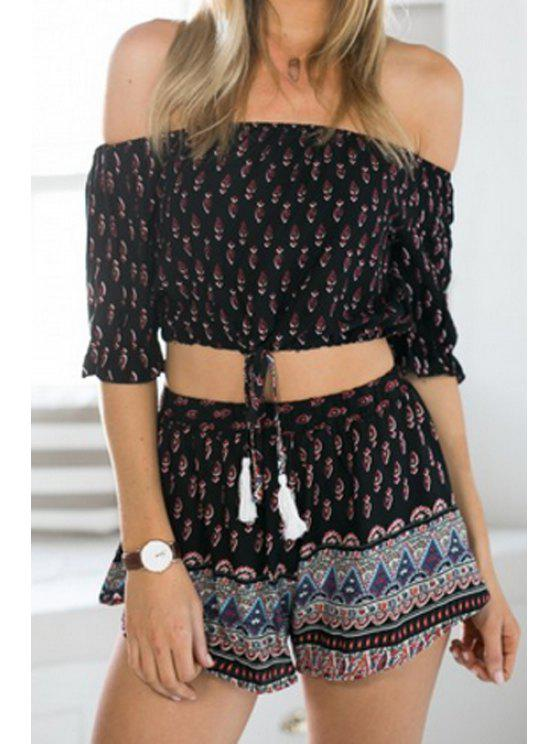 lady Slash Collar Crop Top and Ethnic Print Shorts Suit - BLACK L