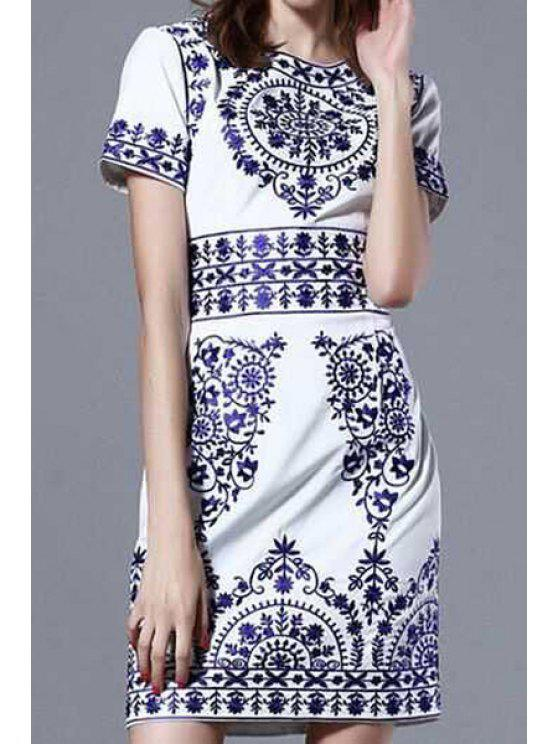 fashion Vintage Print Short Sleeve Dress - AS THE PICTURE S