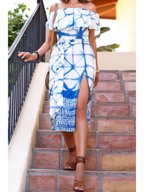 ladies Slash Neck Blue Plaid Print Slit Midi Dress - BLUE AND WHITE S
