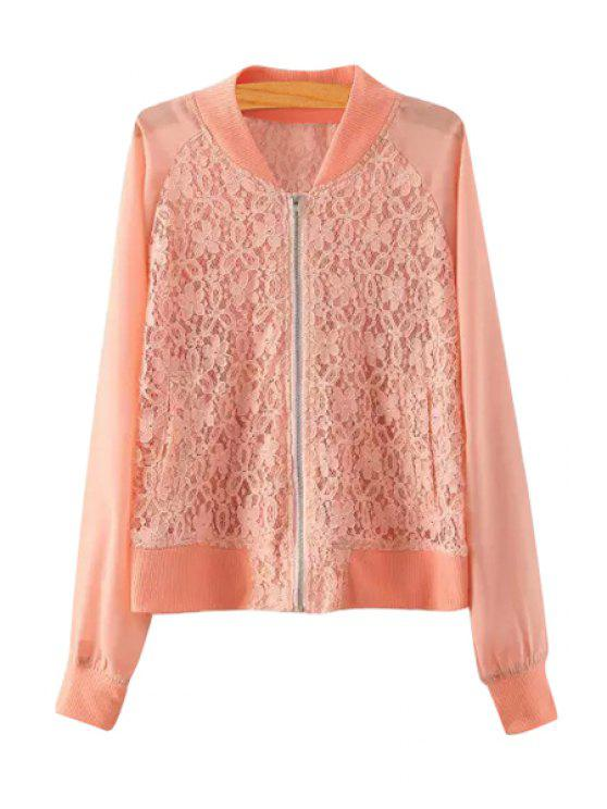 new Lace Spliced Stand Neck Jacket - PINK S