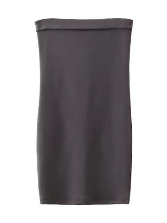 buy Strapless Solid Color Back Zipper Sleeveless Dress - GRAY S
