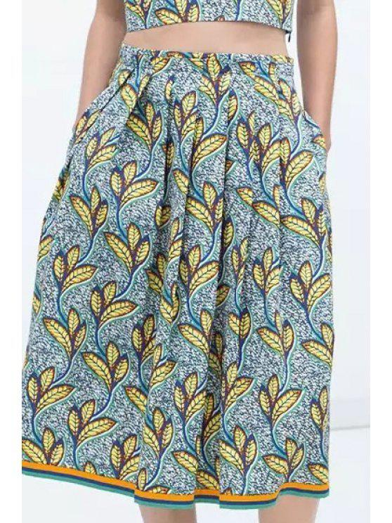 fashion Full Leaf Print High Waisted Skirt - COLORMIX S