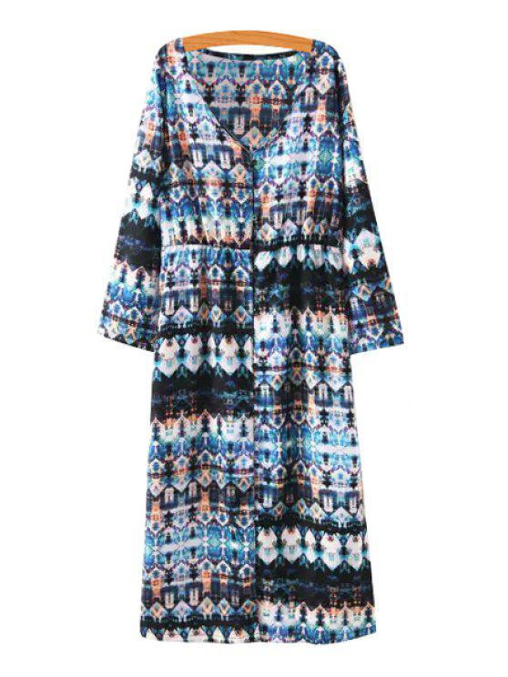 new Color Block Argyle Print Long Sleeve Dress - COLORMIX S