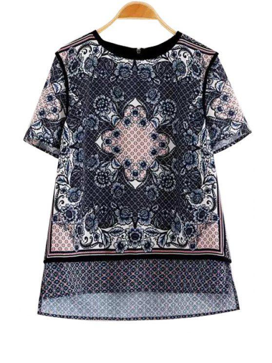 outfit Floral Print Side Slit Short Sleeve T-Shirt - COLORMIX S