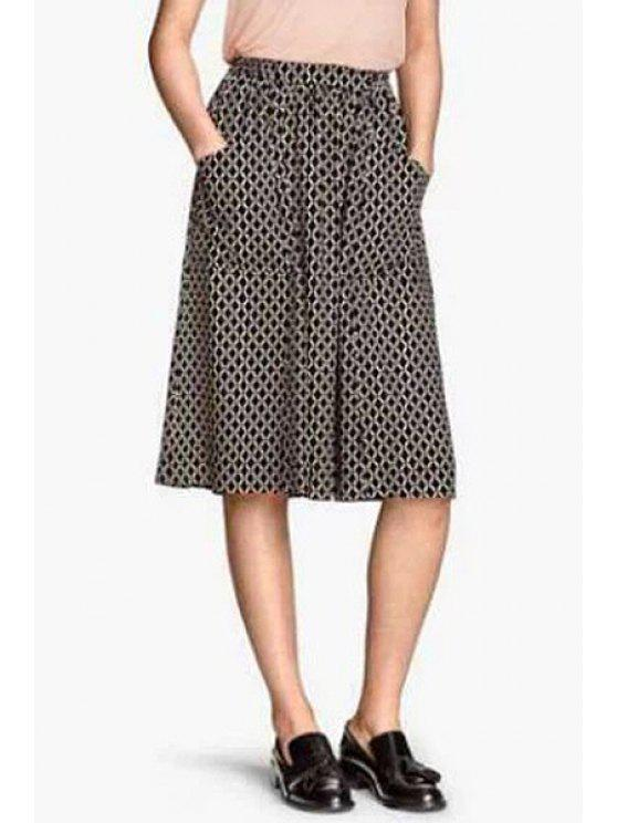ladies Argyle Print A Line Midi Skirt - BLACK 38