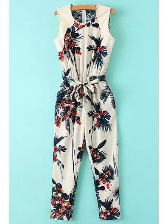 affordable Leaf Print Sleeveless Jumpsuit - COLORMIX S