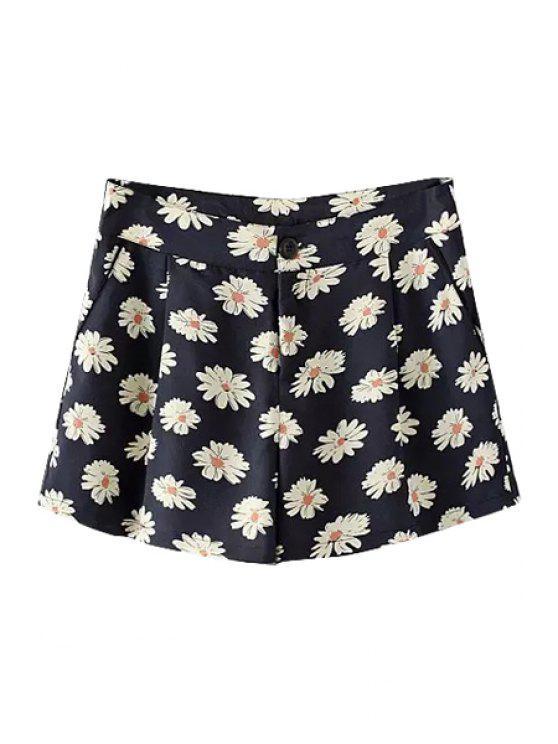 trendy Full Flower Print Wide Leg Shorts - BLACK S