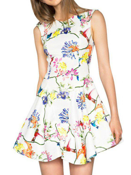 outfits Floral Bird Print Sleeveless Dress - WHITE S