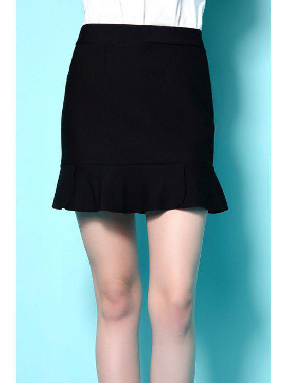 new Solid Color High Waisted Bodycon Skirt - BLACK S