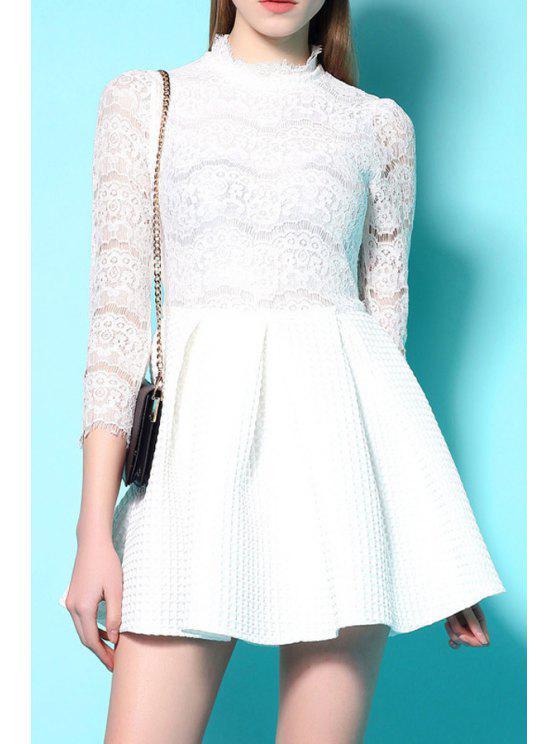 womens Lace Spliced 3/4 Sleeve A Line Dress - WHITE S