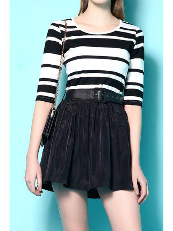 latest Stripe Spliced Half Sleeve A Line Dress - WHITE AND BLACK XL