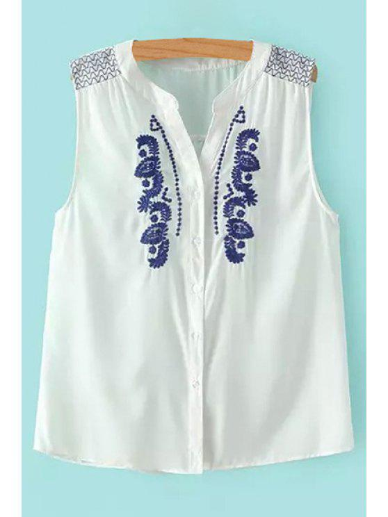 womens Blue Floral Embroidery Sleeveless Shirt - WHITE S