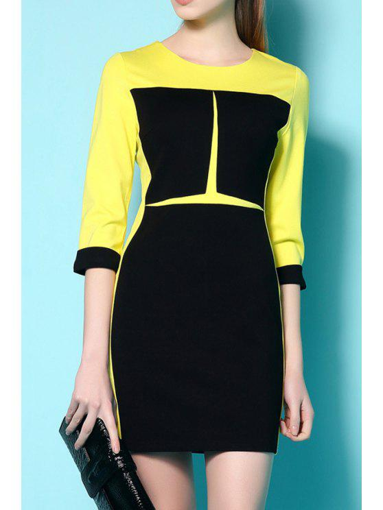 chic Color Block 3/4 Sleeve Slimming Dress - YELLOW L