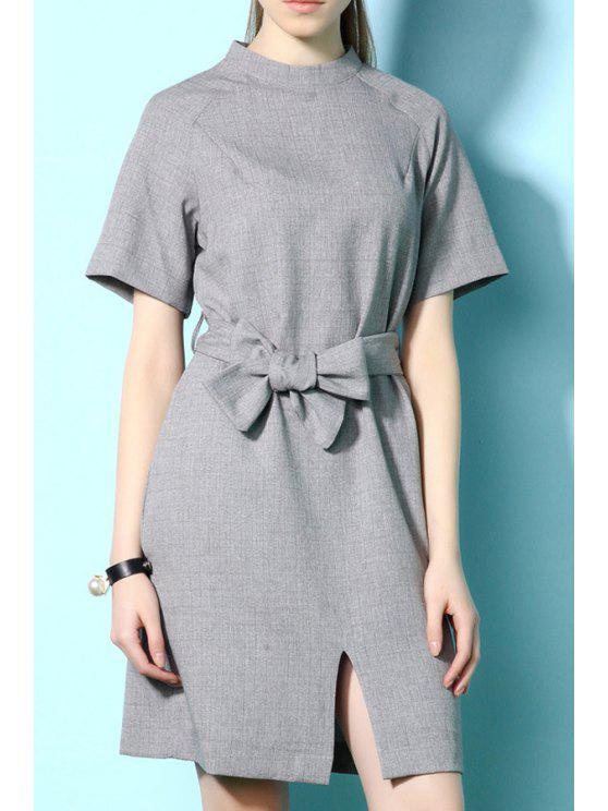 sale Solid Color Short Sleeve Slit Dress - GRAY S