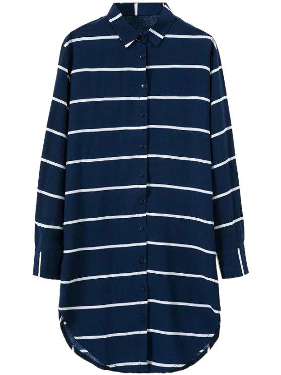 online Polo Collar Stripe Long Sleeve Shirt Dress - BLUE S