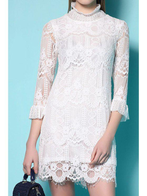 new White Lace 3/4 Sleeve Dress - WHITE S