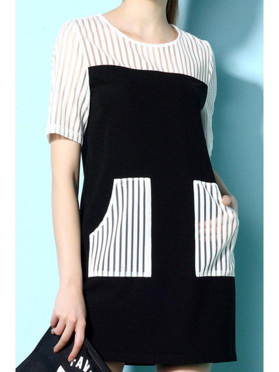 women's Stripe Spliced Short Sleeve Pocket Dress - WHITE AND BLACK S
