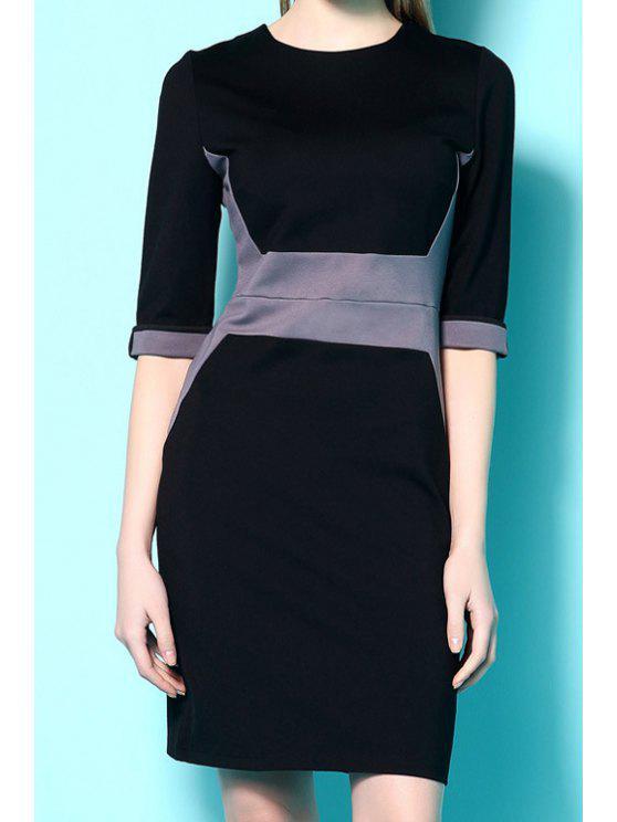 buy Half Sleeves Color Block Dress - BLACK XL
