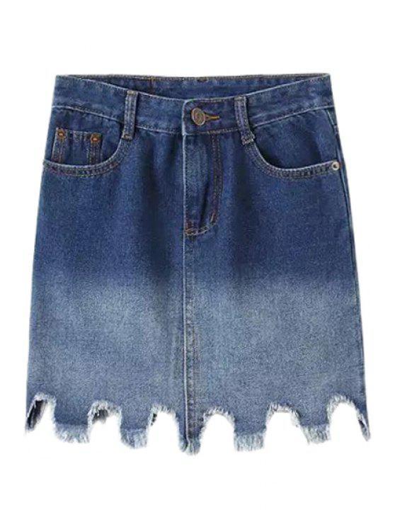 latest Bleach Wash Ombre Asymmetrical Denim Skirt - BLUE S