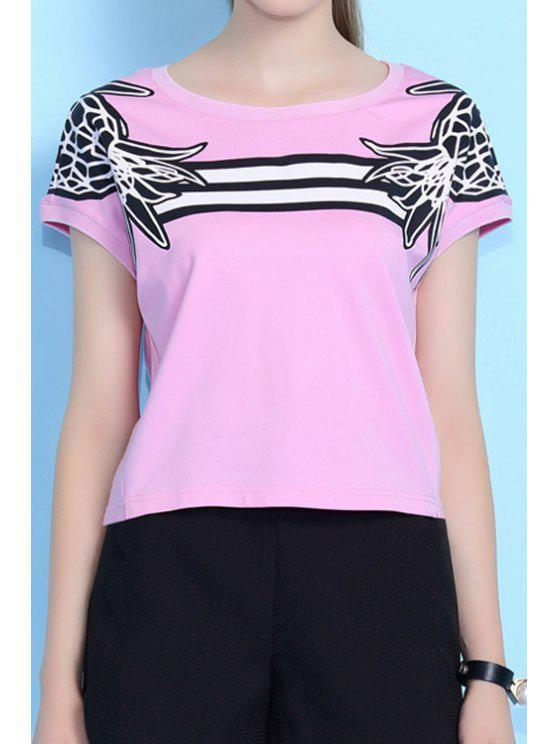 outfits Print Short Sleeve Pink T-Shirt - PINK S