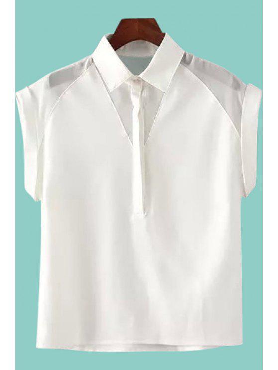best Shirt Neck Short Sleeve White Shirt - WHITE S