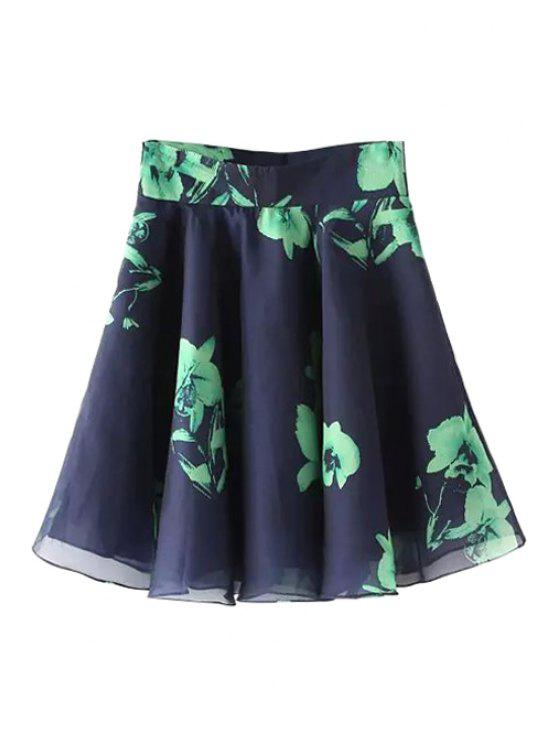 chic Floral Print A-Line Voile Skirt - CADETBLUE S