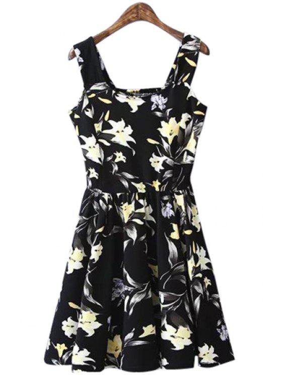 best Floral Square Collar Sleeveless A-Line Dress - BLACK L