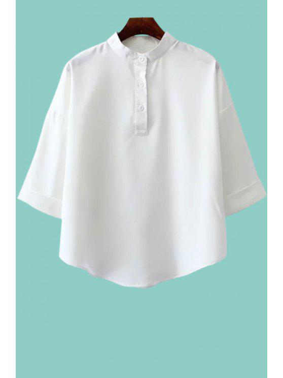 hot Solid Color Stand Neck Half Sleeve Shirt - WHITE ONE SIZE(FIT SIZE XS TO M)