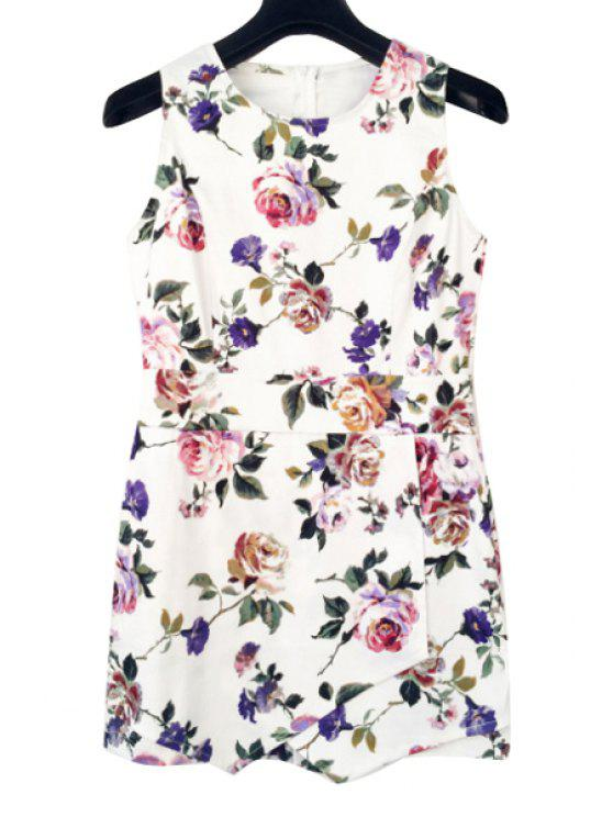 outfits Floral Print Sleeveless Playsuit - WHITE S